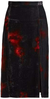 Altuzarra Pennant Tie-dye Velvet Midi Skirt - Womens - Black Orange