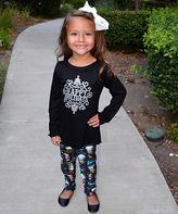Beary Basics Black 'Happy Holidays' Top & Snowmen Leggings - Toddler & Girls