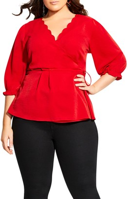City Chic Scalloped Wrap Top