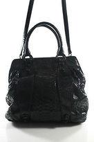 Carlos Falchi Black Snakeskin Large Satchel Handbag