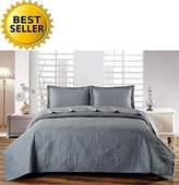Elegant Comfort Luxury LightWeight 2-Piece Bedspread Coverlet Quilt Set with Sham -All Season- HypoAllergenic- Wrinkle & Fade Resistant- Twin/Twin XL, Dark Grey