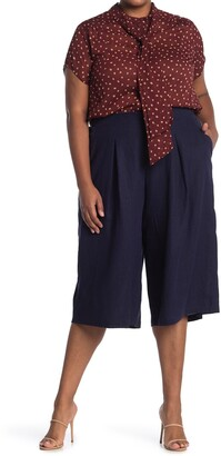 Pleione Pleated Wide Leg Capri Pants