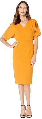 Donna Morgan Kimono Sleeve V-Neck Sheath Crepe Dress (Butternut) Women's Dress
