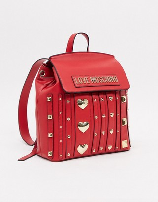 Love Moschino love and more studded backpack in red