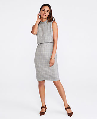 Ann Taylor The Overlay Sheath Dress in Plaid