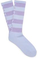 Cav Empt - Striped Ribbed Cotton-blend Socks - Sky blue
