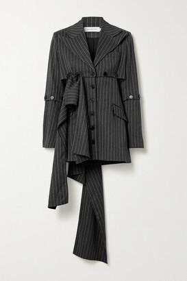 16Arlington Tracey Convertible Pinstriped Woven Blazer