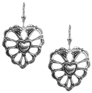 American West by Carolyn Pollack Concha Style Heart Dangle Earrings in Sterling Silver