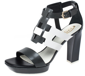 Tod's Two Tone Leather Cutout Platform Ankle Strap Sandals Size 39.5
