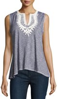 Max Studio Embroidered Accent Sleeveless Top, Indigo/Ivory