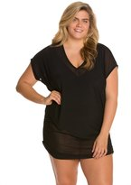 Anne Cole Plus Size Solids Mesh VNeck Shirred Cover Up Tee - 8127758