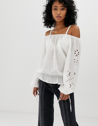 Pepe Jeans Jasmine off shoulder blouse-White