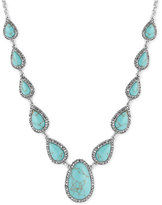 Lucky Brand Silver-Tone Blue Stone Long Statement Necklace