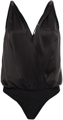 Jonathan Simkhai Wrap-effect Washed-silk Bodysuit