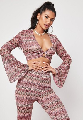 Missguided Rust Co Ord Zig Zag Printed Crop Top