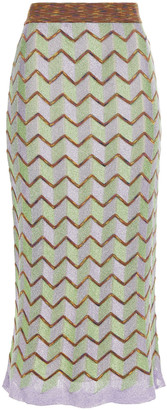 M Missoni Metallic Striped Crochet-knit Midi Skirt