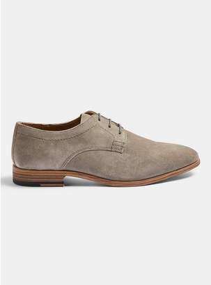 Topman Mens Grey Real Suede Fenn Derby Shoes