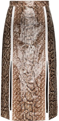 Fendi snake print FF motif skirt