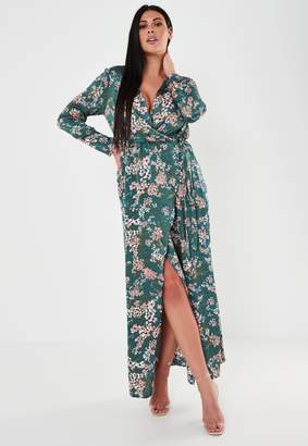 Missguided Plus Size Teal Floral Print Wrap Maxi Dress