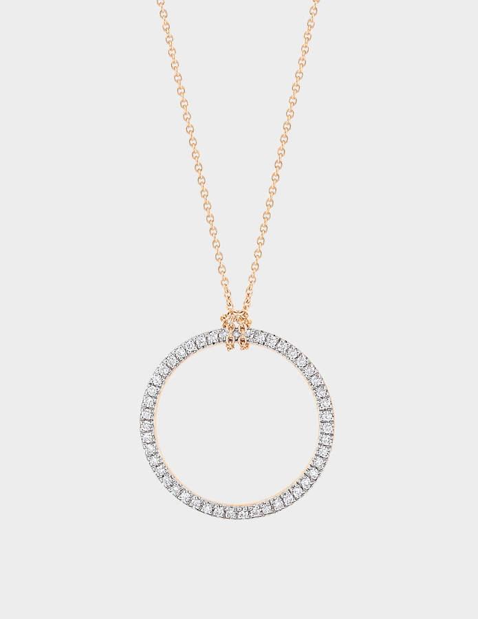 ginette_ny Mini Diamond Circle 18-karat rose gold necklace