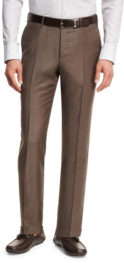 Ermenegildo Zegna Trofeo Wool Flat-Front Trousers, Light Brown