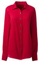 Classic Women's Long Sleeve Crepe Blouse-Ivory Stripe