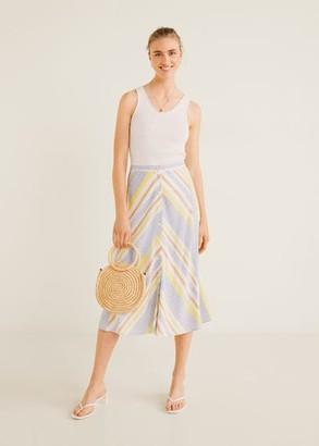 MANGO Multicolor striped skirt yellow - XXS - Women