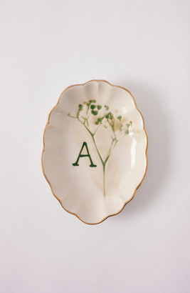 Anthropologie Home Botanical Monogram Trinket Tray
