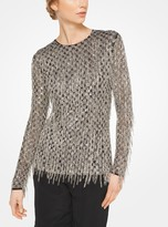 Michael Kors Fringed Sequined Stretch-Tulle Pullover