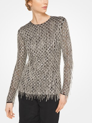 Michael Kors Fringed Sequined Stretch-Tulle Top