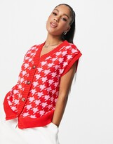 NaaNaa houndstooth knitted cardigan tank in red and pink