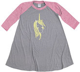 Urban Smalls Gray & Pink Pretty Unicorn Raglan T-Shirt Dress - Toddler & Girls