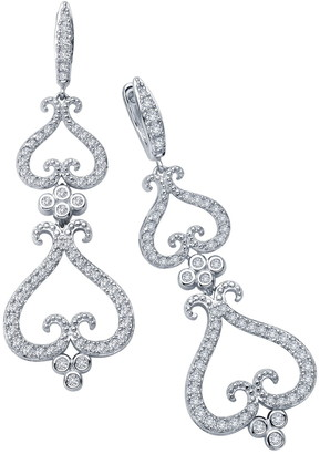Lafonn Platinum Plated Sterling Silver Pave Simulated Diamond Long Filihearts Chandelier Earrings