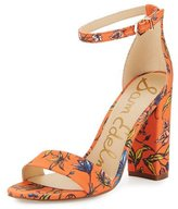 Sam Edelman Yaro Floral Block-Heel Sandal, Orange