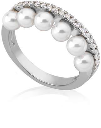 Majorica 6-Pearl & Cubic Zirconia Ring, Size 7