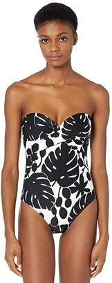 Kate Spade Monstera Molded Bandeau One-Piece w/ Underwire and Removable Strap (Black) Women's Swimsuits One Piece