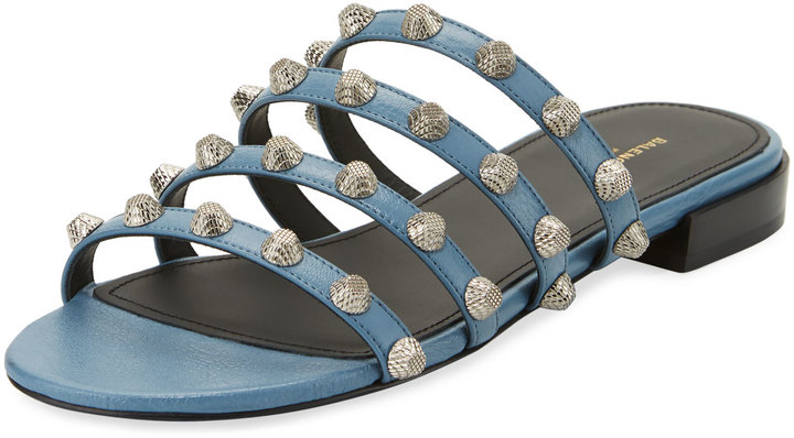 Balenciaga Mini-Studded Leather Slide Flat Sandal