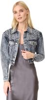 Alice + Olivia Chloe Studded Cropped Denim Jacket