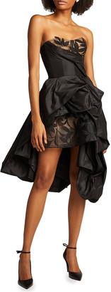 Oscar de la Renta Taffeta Strapless Gown w/ Embroidery