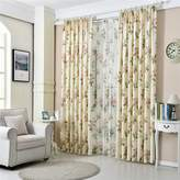 MEILIANJIA American Pastoral-style Flowers Velvet Linen Printing Double Pleated Thickened Multi Size Environmental Health Curtains(One Panel),s