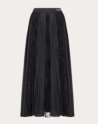 Valentino Jersey And Chantilly Lace Skirt Women Black XS