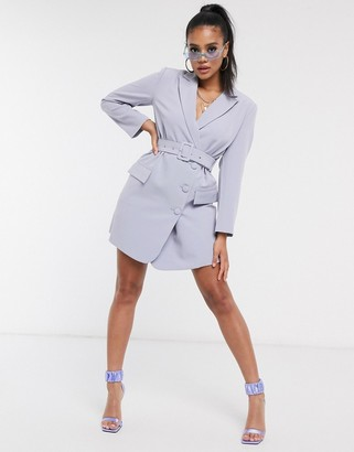 4th + Reckless belted blazer dress in blue