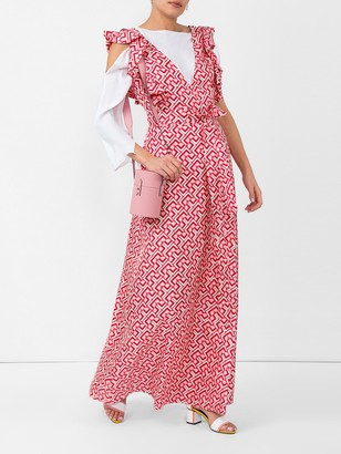 La DoubleJ wedding guest domino-print cotton dress red