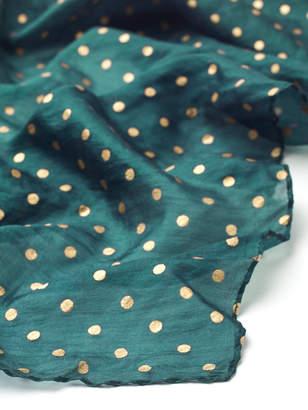 White Stuff Spot Pleated Silk Neckerchief