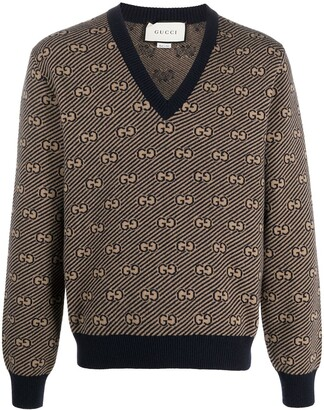 Gucci GG stripe V-neck jumper