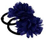 2Pcs Elastic Flower Hair Band Ponios Bobbles Girls Ponytail Hair Accessories - Royal Blue, 160cm