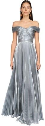 ZUHAIR MURAD Pleated Lame Long Dress