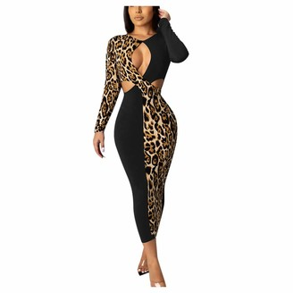 Your New Look Women's Sexy Leopard Splicing Hollow Out Bodycon Dress Long Sleeve Patchwork Pencil Dress with Chest & Waist Cut Out Design Black