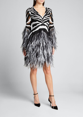 Pamella Roland Sequin Zebra Cocktail w/Ostrich Feathers