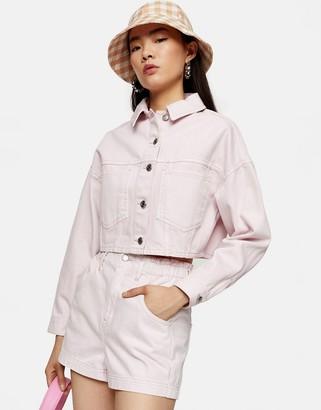 Topshop high-waist paperbag denim shorts in pink